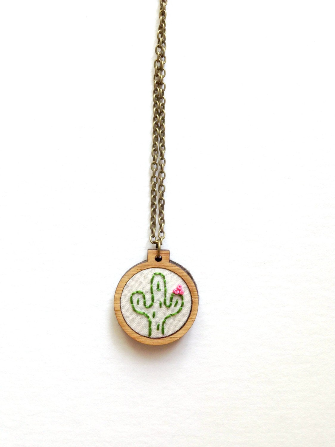 cactus necklace cactus desert embroidered by