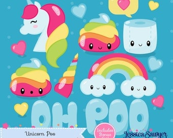 INSTANT DOWNLOAD - Unicorn Poo Clipart and Vectors for personal and commercial use