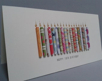 Happy 18TH Birthday Candle Card, Can be Personalised with a name on the front.