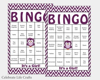 60 Owl Baby Shower Bingo Cards   60 Prefilled Bingo Cards   Girl Baby  Shower Game