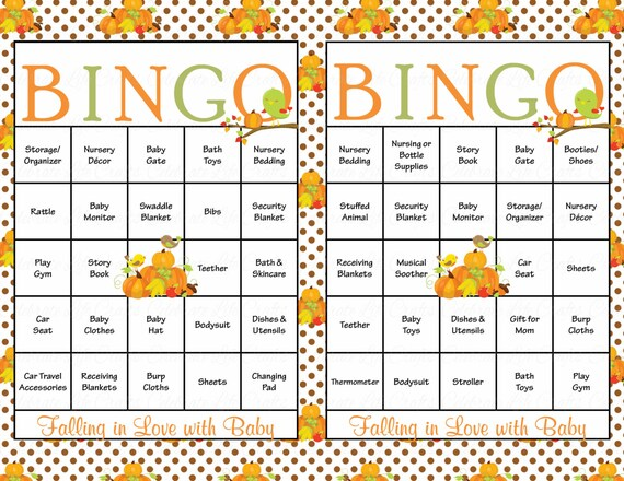 30 baby shower bingo cards falling in love with baby shower theme