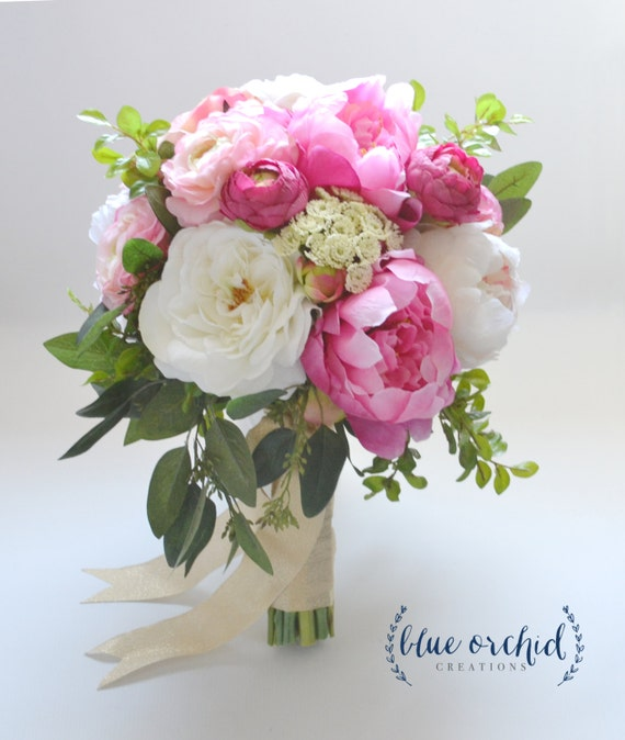 large peony bouquet with garden roses and ranunculus in pink and cream with greenery boho bouquet bridal bouquet silk bouquet - Garden Rose And Peony