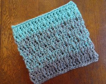 Crochet Ombre Cowl Heather Gray Aqua Chunky Textured Design Neckwarmer