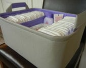"""Ex Large-Diaper Caddy-14""""x 10""""x 7""""(CHOOSE Basket & Lining COLOR)Two Dividers-Fabric Storage Organizer-Baby Gift-""""Grey"""""""