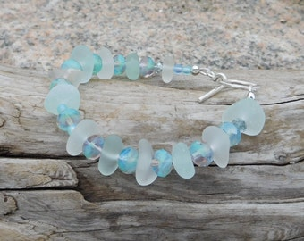 Genuine sea glass bracelet.  Beach glass.  Authentic. Czech beads.  White and aqua sea glass.