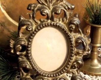 Vintage Brass Oval Ornate Picture Frame, Vintage French Italian Brass Picture Frame, Vintage Ornate Brass Frame  ** Epsteam ** Treasury