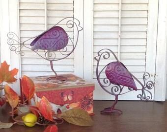 2 Metal Feet Tin Birds - Aubergine French Scrolled Metal Birds