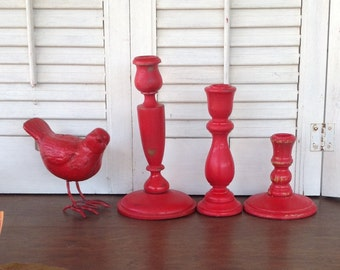 Red Vintage Wood Candlesticks w/Metal Footed Bird - Mid Century - Valentine's Day