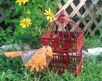 Red Square Bird Cage - Table Top - Red Garden Patio Hanging Cottage Chic - Metal Yard Art - Indoor Outdoor