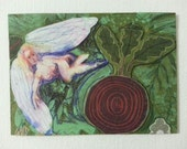 sale aceo BEET ANGEL 1 original collage kimartist abstract cherub fairy faerie fantasy folk modern naive outsider purple green red white sfa