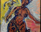 "clearance sale 4""x4"" SHAKESPEAREAN TRAGEDY original kimartist woman dancer dancing naive blue brown red orange yellow gray white sfa tile"