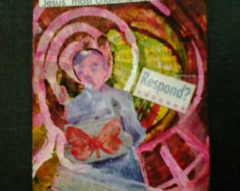 clearance sale aceo Who WOULD JESUS NATURALIZE original art kimartist boy ows team wwjd wwjd? brut naive purple red pink yellow black white