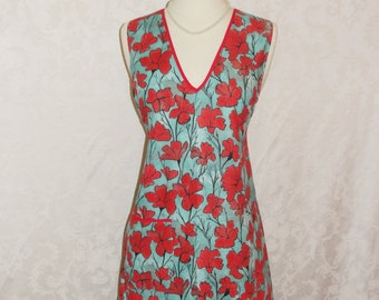 Beautiful Womens V Neck Apron Vintage Style Hostess Apron in a Red and Turquoise Print Womens Retro Apron - Ready To Ship
