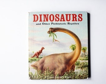 Vintage 1970s Dinosaur Book - Giant Golden Book- Dinosaurs and Other Prehistoric Animals- Vintage Childrens Book, Gifts for Kids, Geekery