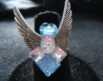 Blue and Clear Angel Wings Ring