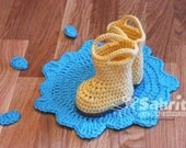 PATTERN Instant Download Rain Booties  and Puddle Crochet Baby Boots