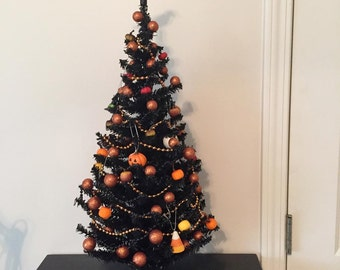 Black Halloween Tree with Decorations