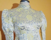 Vtg 60s GALACTIC PRINCESS Silver & Yellow BROCADE Maxi Dress with Puff Sleeves, Small