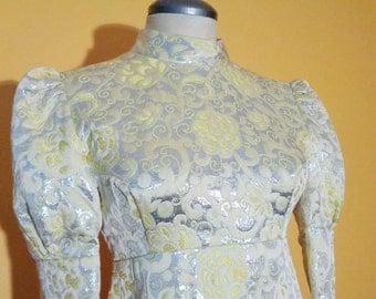 Vtg 60s GALACTIC PRINCESS Silver & Yellow BROCADE Maxi Dress with Puff Sleeves, Small