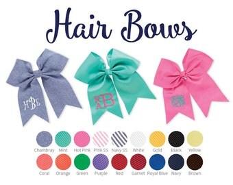 Monogrammed Hair Bow, Girls Bows