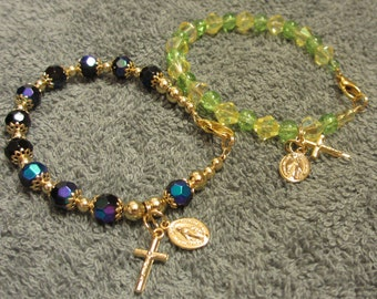 Miraculous Medal Beaded Bracelet Yellow Green