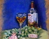 "Fine art 6X6 original still life oil painting ""Glass of Wine"""