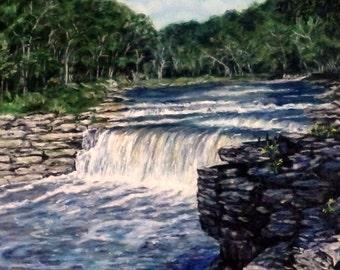"Fine Art Original River Scene Oil Painting 20 X 16 ""Cataract Falls"""