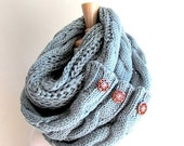 SALE Infinity Scarf with Buttons Braided Cable Lightweight Knit Neckwarmer Loop Circle Scarves Fall Winter Women Girls Accessories