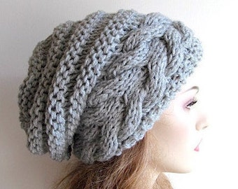 Braided Cable Beehive Hat Slouchy Beanie Slouch Hats Oversized Baggy cabled hat womens fall winter accessory Hand Made Knit