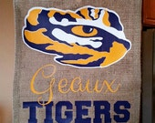 Burlap Garden Flag; LSU, Tiger Eye, Purple and Gold