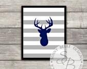 Deer Head Print; Navy Blue Deer Print; Boys' Room; Navy Theme