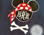 Disney Cruise Shirt; Ladies' Shirts; Pirate Mickey; Pirate Night