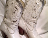 White Cowgirl Boots Size 5-1/2