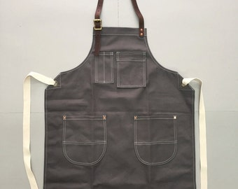 New Grey Canvas Apron w/Leather Copper rivets workwear/baristas/chefs/barbers Handmade