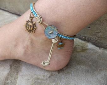 Sun Star Bohemian Leather Anklet Bracelet Boho Chic Sun Jewelry Star Jewelry Leather Anklet Leather Jewelry