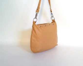 Cream purse - everyday leather hobo bag - lightweight small shoulder handbag - handmade design becky