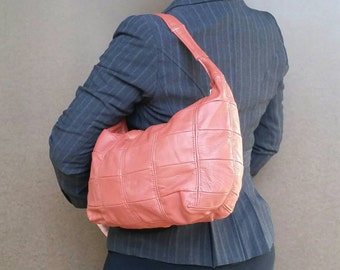 Leather Purse, Coral Pink Hobo Bag, Casual Everyday Medium Shoulder Handbag, Fashion Bags, Rosses