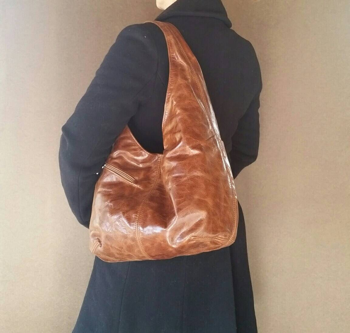 Distressed Brown Leather Slouchy Hobo Bag With Outside Pockets
