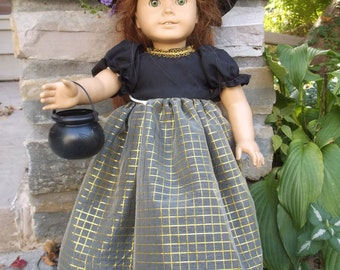 18 Inch American Girl Doll Witch's Costume, long dress, hat and caldron by Project Funway on Etsy