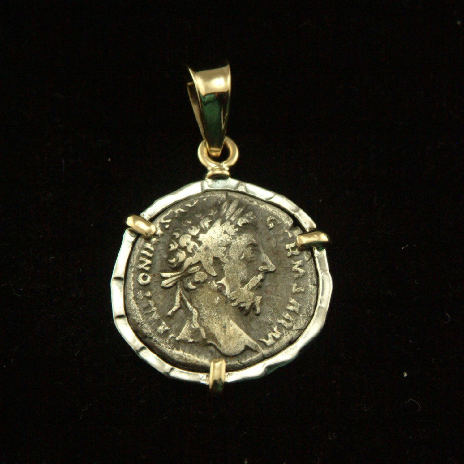 ancient coin pendant sterling silver 18k gold pendant with