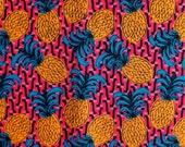 Pineapple Printed 100% Cotton Poplin - Bold Bright Contrast African Style Print - Pink Blue Orange Black - by the metre - UK SELLER