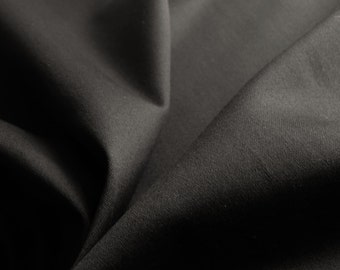 Plain Black cotton stretch sateen fabric - Ideal for tailoring - Sold by the metre - UK SELLER