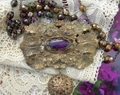 RESERVED FOR HELENE  Repurposed Victorian Brooch Necklace with Purple Rhinestone and Twinkle Button