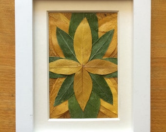 Green & Yellow Pressed Leaf Collage 2x3