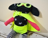 Quirky and Unique Superhero Puppy, Made from all Reclaimed Clothing, Hand-Stitched, Sustainable Plush Toy, OOAK,
