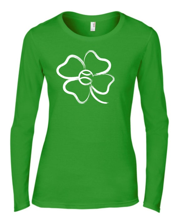 Tennis Shamrock Tshirt, Green Tshirt, St Patricks Day Tshirt,  Green Tennis Shirt, Four Leaf Clover Tennis Top, Tennis Shirt,
