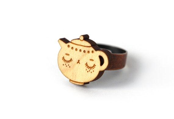 Teapot ring - teatime ring - tea ring - cute jewelry - lasercut maple wood - kawaii food jewellery - one size fits all - OSFA - lasercutting