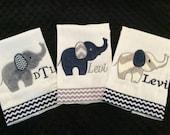 Navy and Grey Elephant Burp Cloth Set