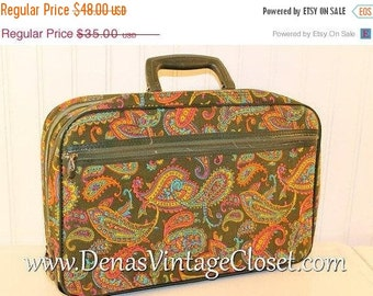 50% Off Valentines Sale Vintage 60s Mod Bantam Luggage Suitcase Over Night Bag Green Pink Paisley Print Travel Case