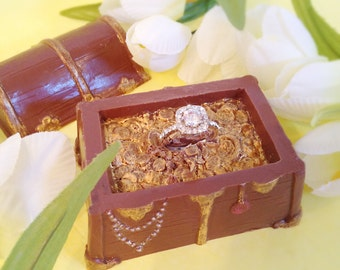 Chocolate Treasure Chest, Gemstone Ring, Chocolate Pirates chest, Gift For Her, Unique Gift